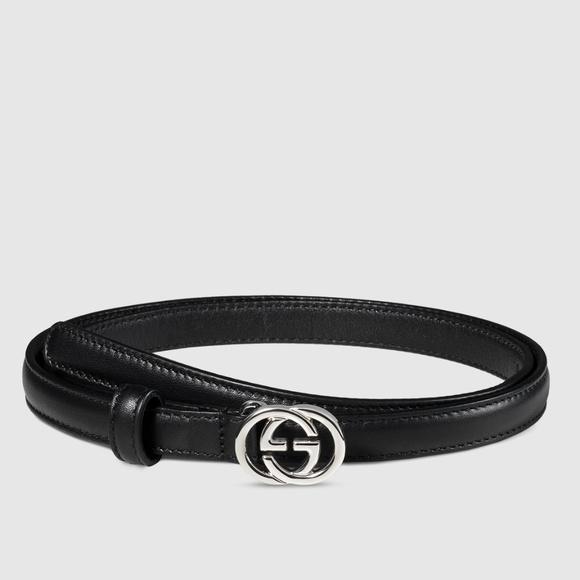 aa58c23e37d Gucci Black Skinny Interlocking GG Belt 90